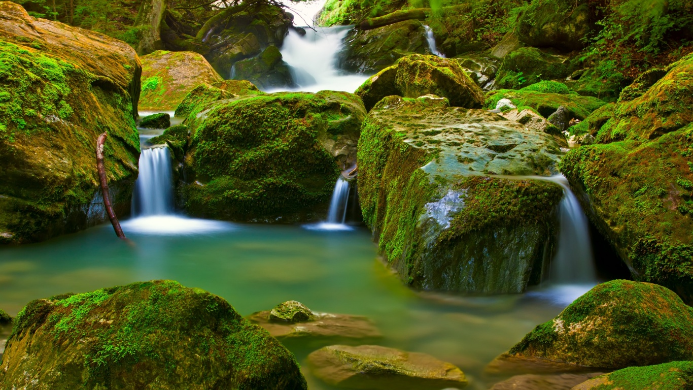 1366x768 waterfall desktop pc and mac wallpaper