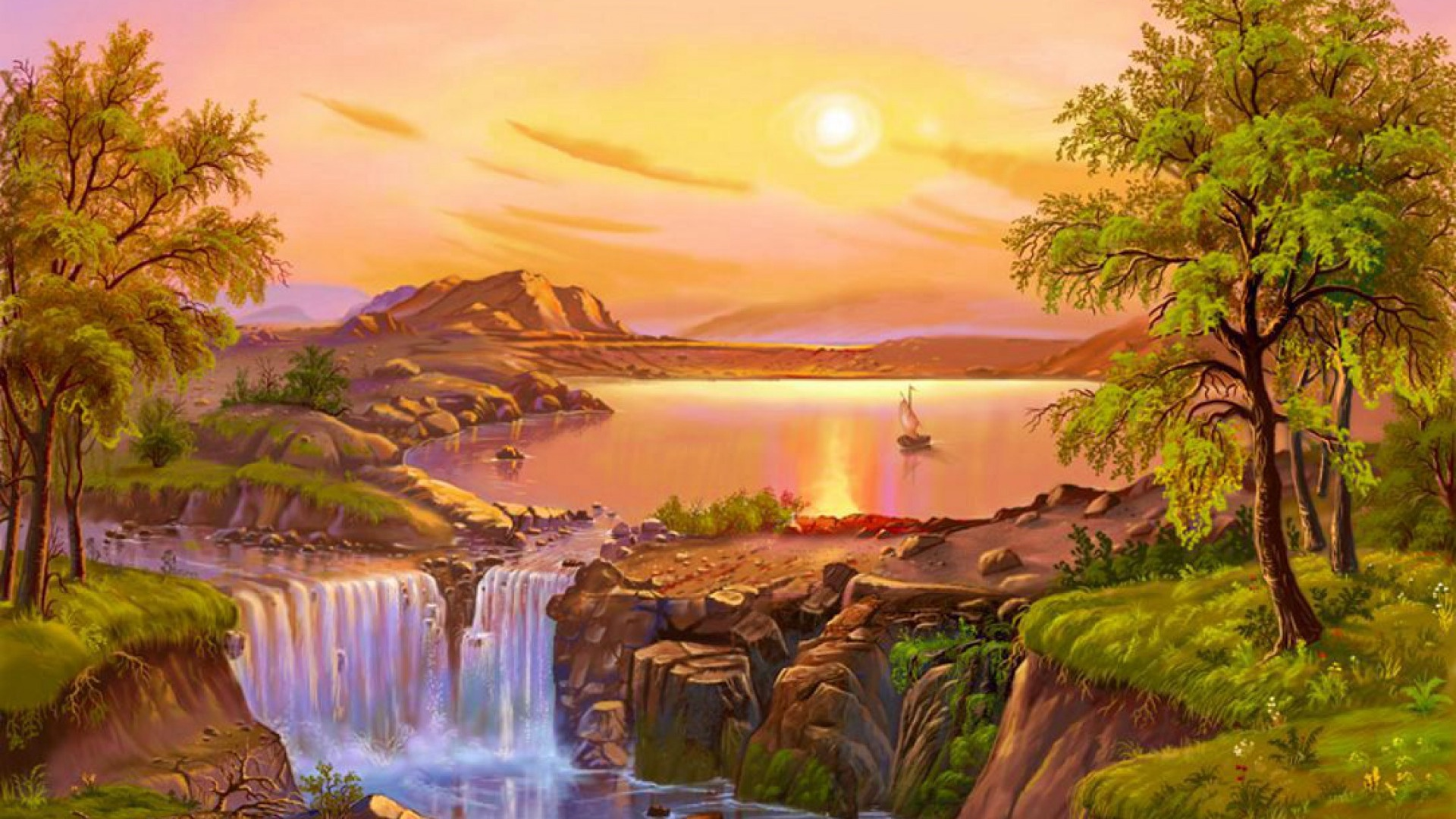 1920x1080 Waterfalls Cliffs Trees Sunset Desktop Pc And