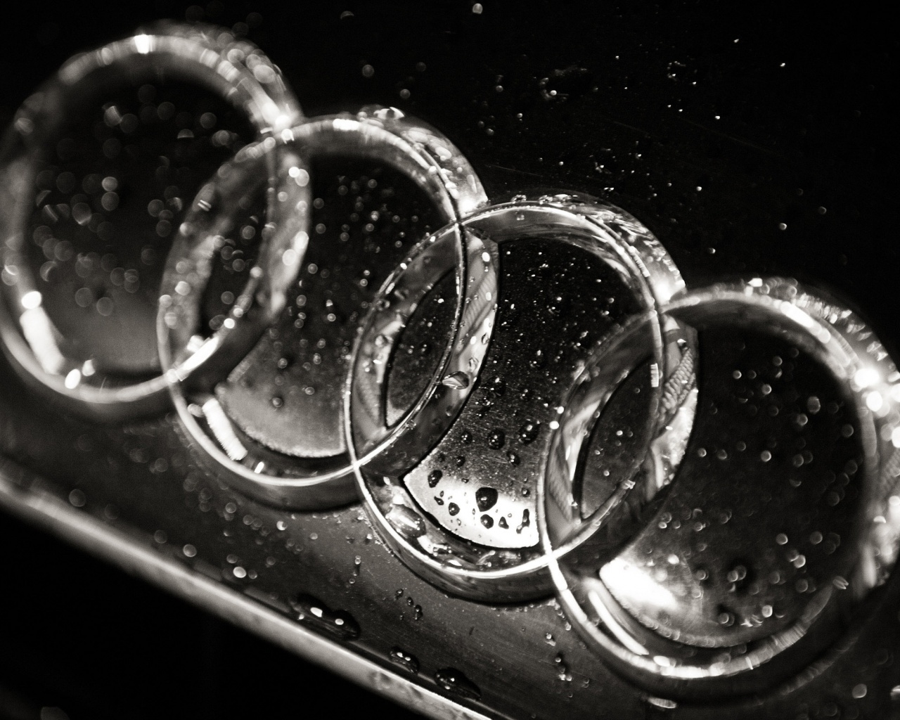 1280x1024 Wet Audi logo, cars