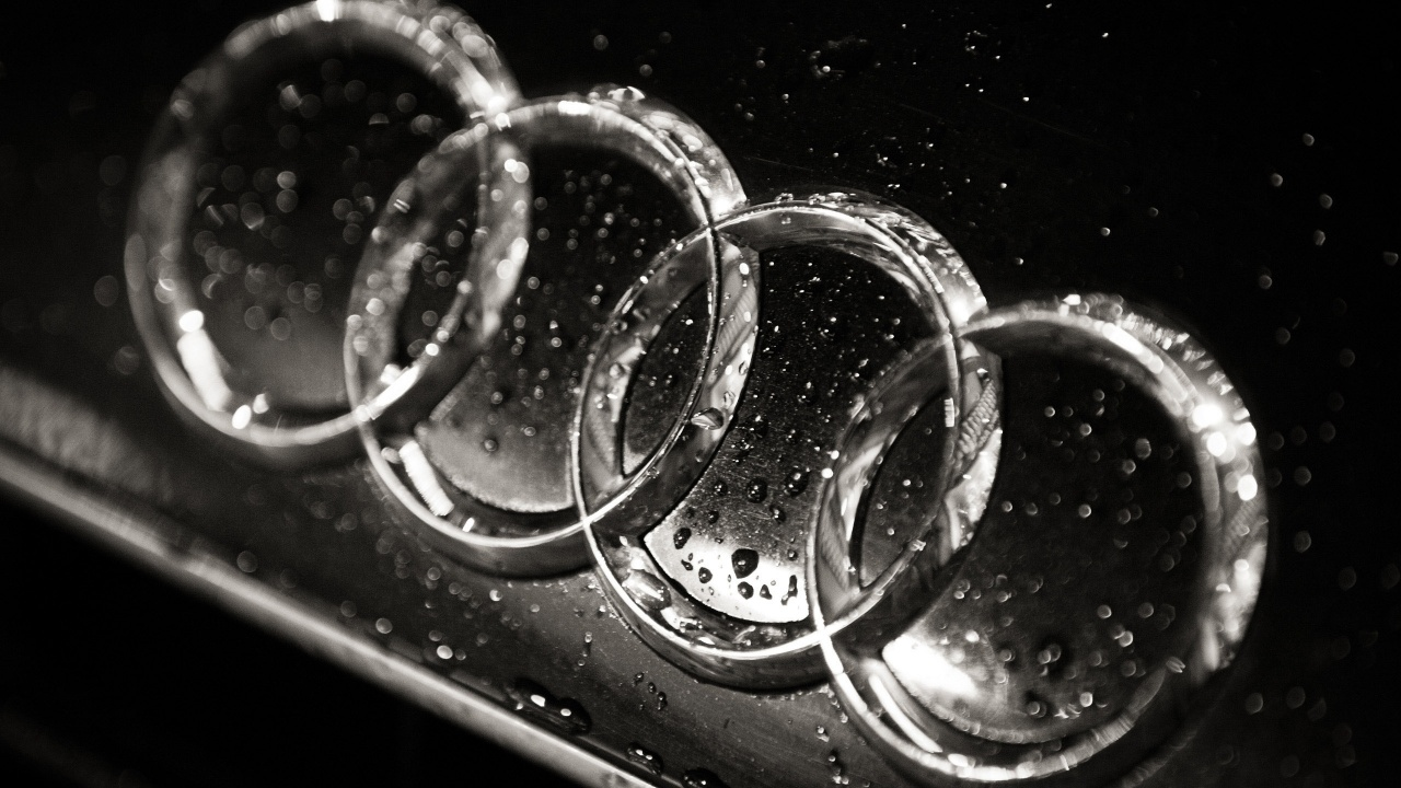 1280x720 Wet Audi logo, cars