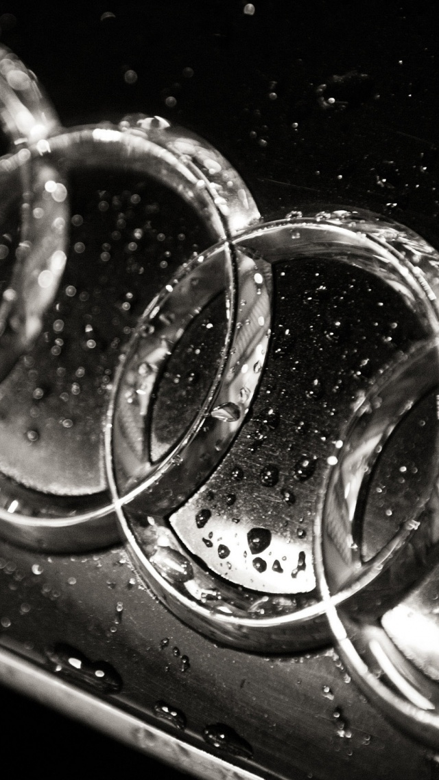 640x1136 Wet Audi logo, cars