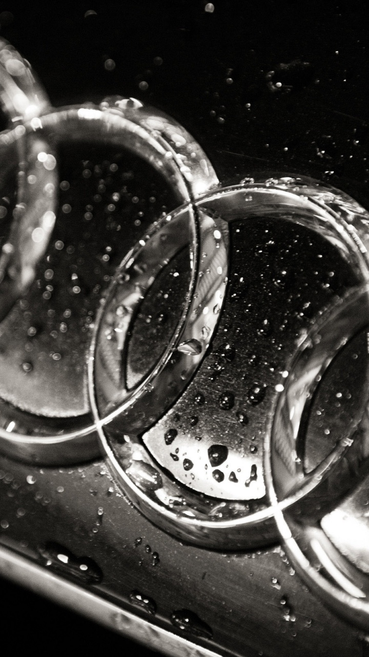 720x1280 Wet Audi logo, cars
