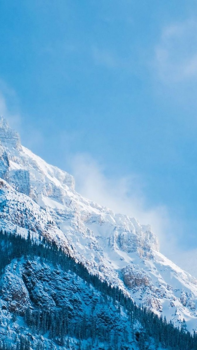 640x1136 White Blue Mountain Peaks Iphone 5 Wallpaper