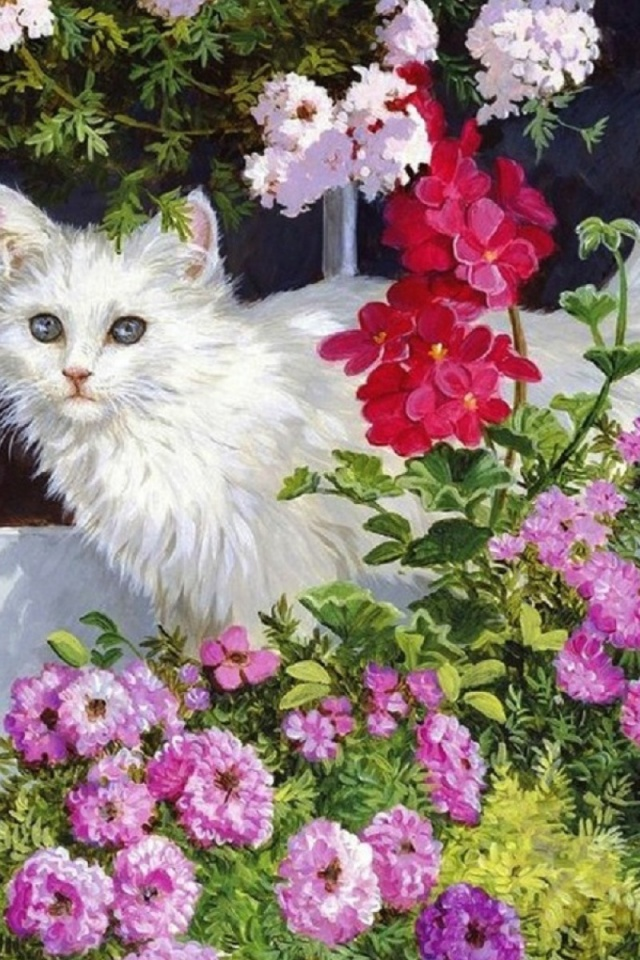 640x960 White Kitty Pink Flowers Iphone 4 Wallpaper
