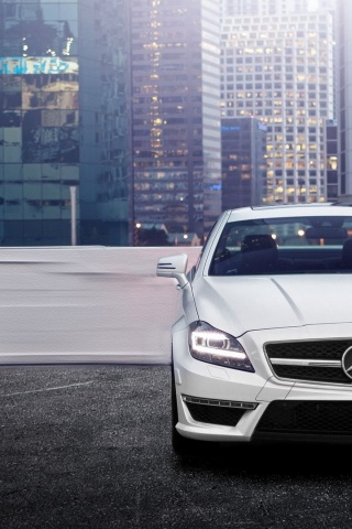 320x480 White Mercedes Benz Cls 63 Amg Rooftop Iphone 3g Wallpaper