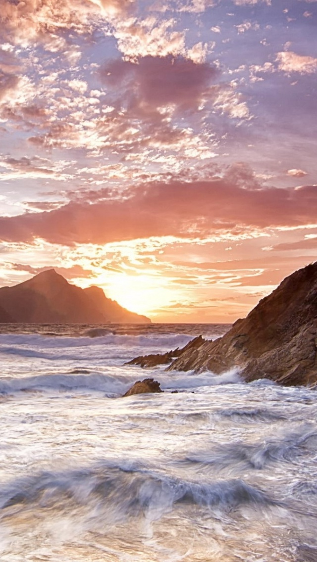 640x1136 Wild Ocean Waves Rocks Sunset Iphone 5 wallpaper