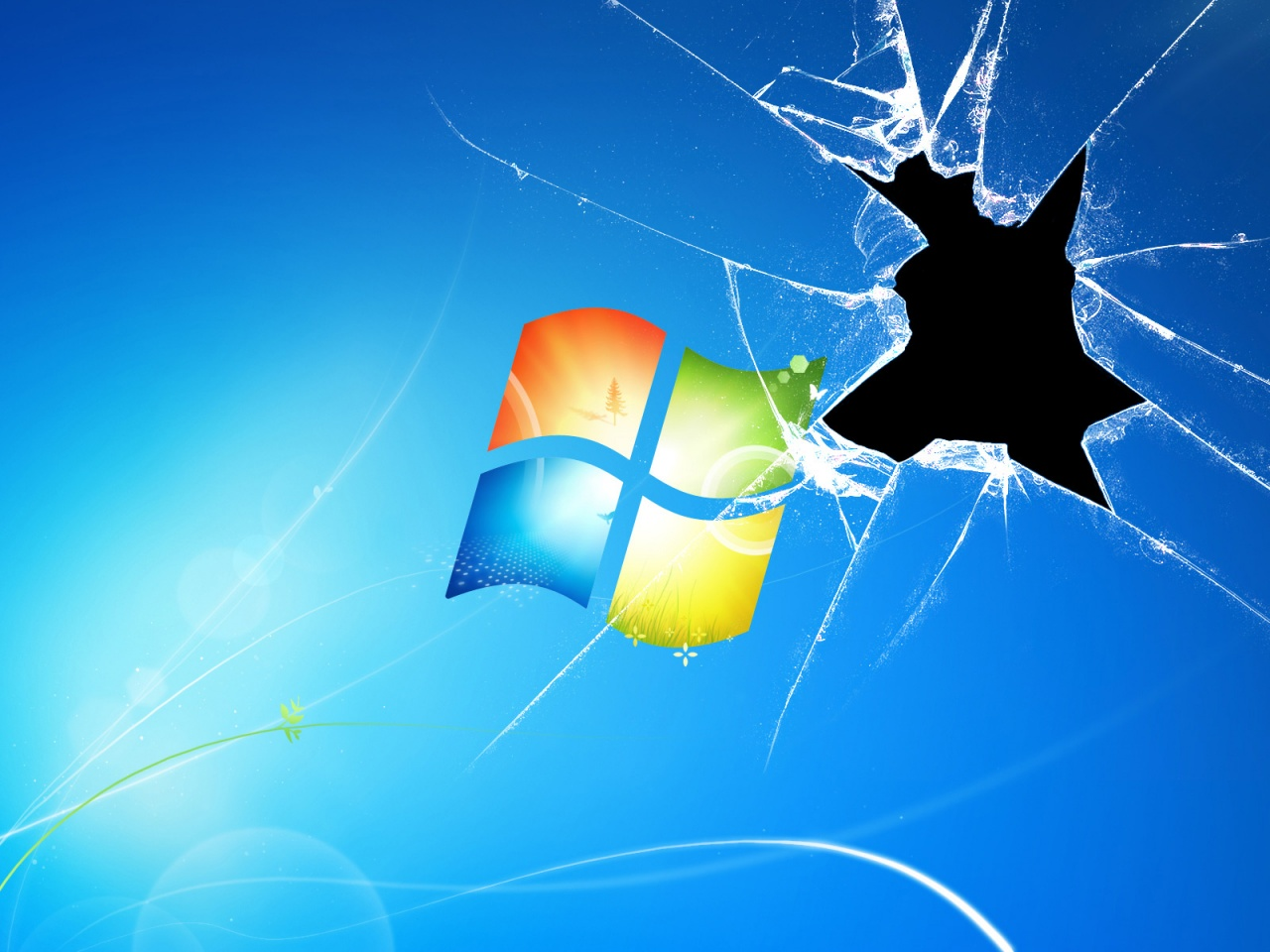 1280x960 Windows 7 Broken,  glass