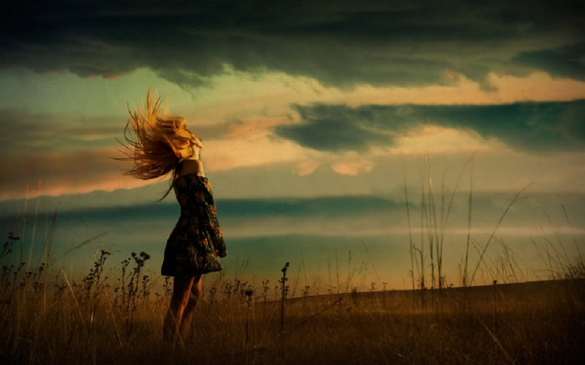 windy day woman amp field wallpapers windy day woman