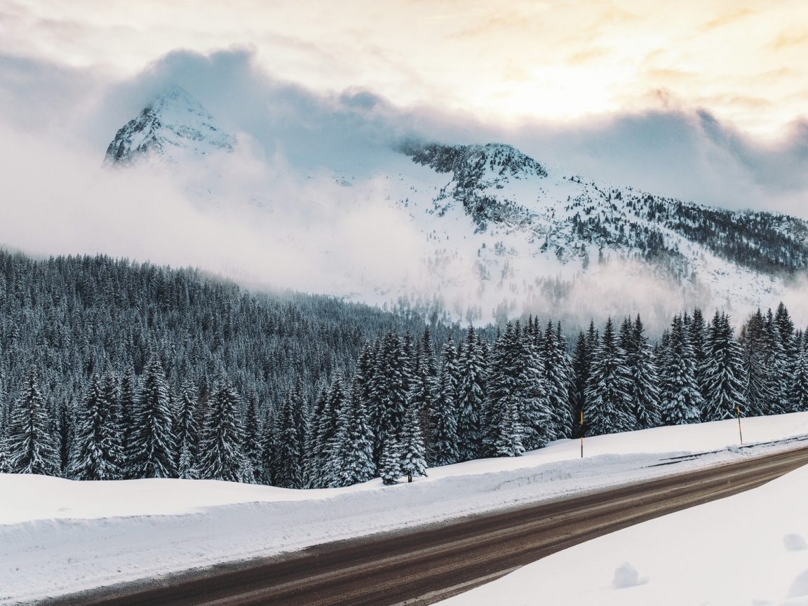 1152x864 winter, snow, road, mountains,