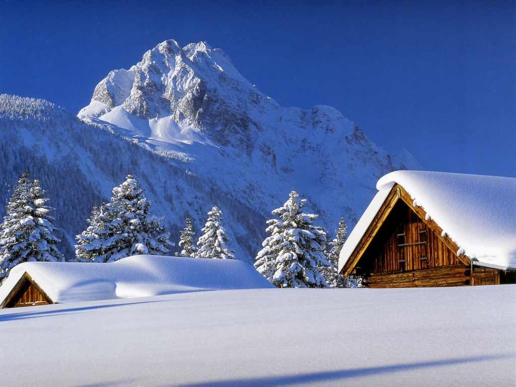 1024x768 winter cabin desktop pc and mac wallpaper