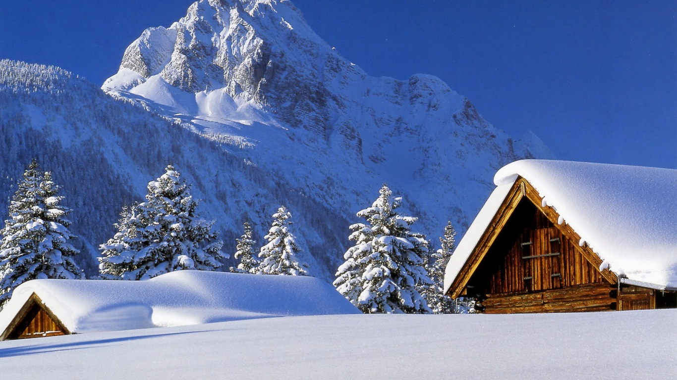 1366x768 winter cabin desktop pc and mac wallpaper