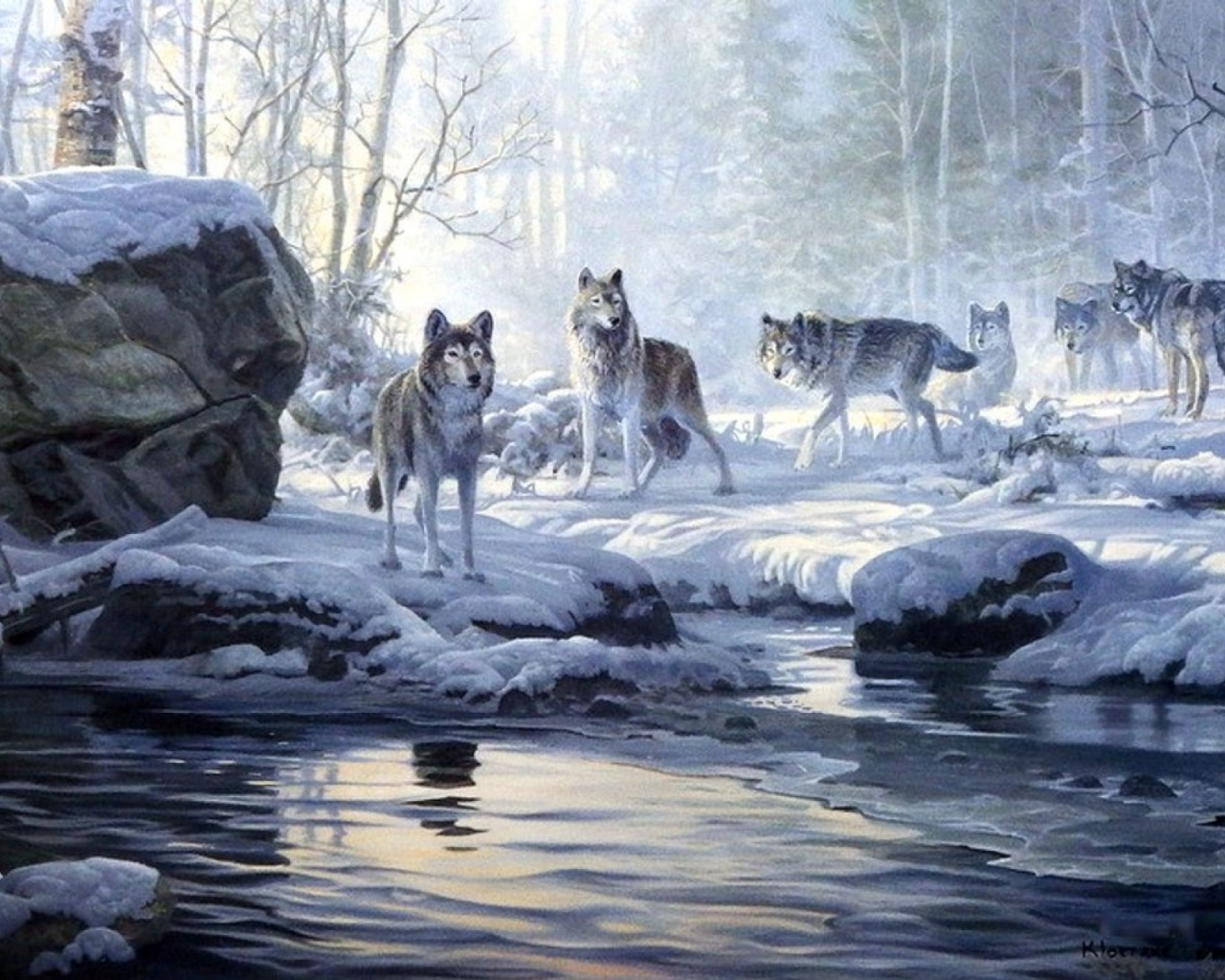 1280x1024 Winter Forest Wolves Creek Desktop Pc And Mac