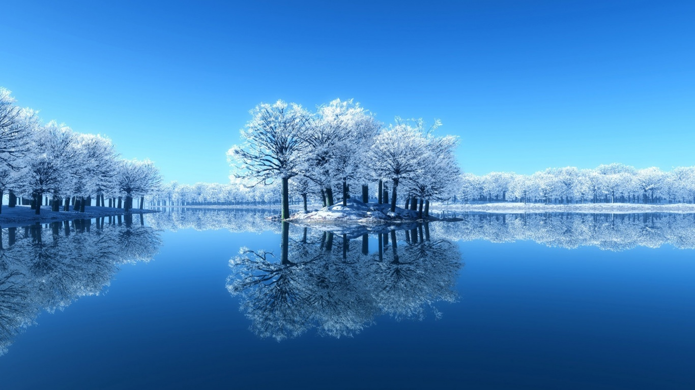 1366x768 winter lake desktop pc and mac wallpaper