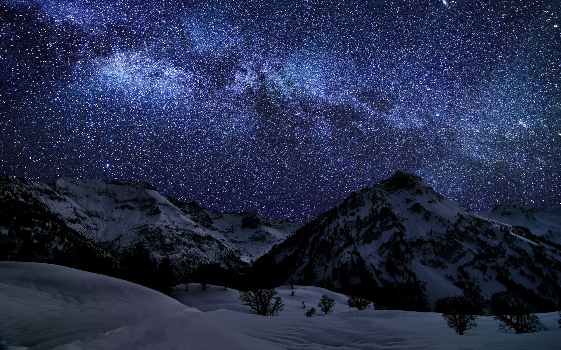 1920x1200 winter mountains purple night desktop pc and mac wallpaper