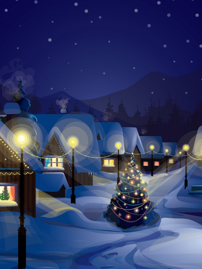 768x1024 winter over village ipad mini wallpaper