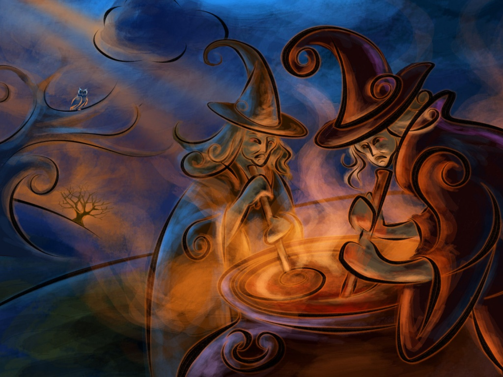 1024x768 Witchcraft Magic Night Cauldron