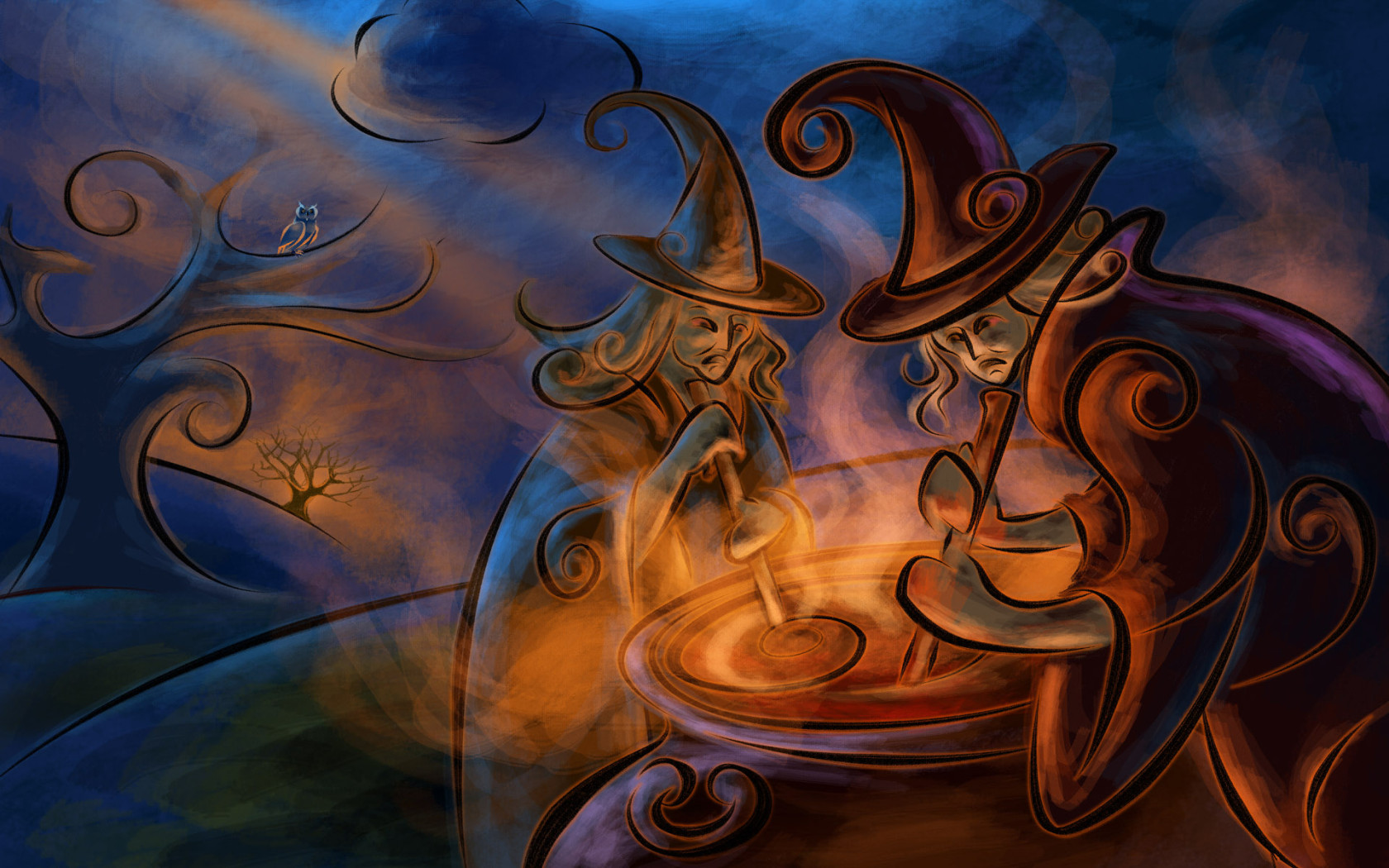 1680x1050 Witchcraft Magic Night Cauldron