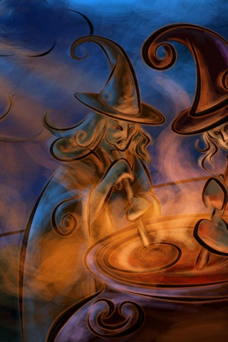 320x480 Witchcraft Magic Night Cauldron