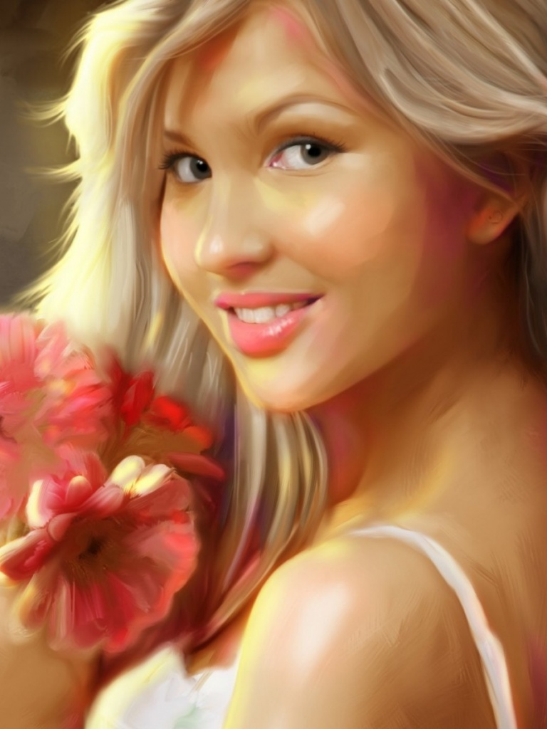 768x1024 Woman Blonde Smile Pink Floral Ipad Wallpaper