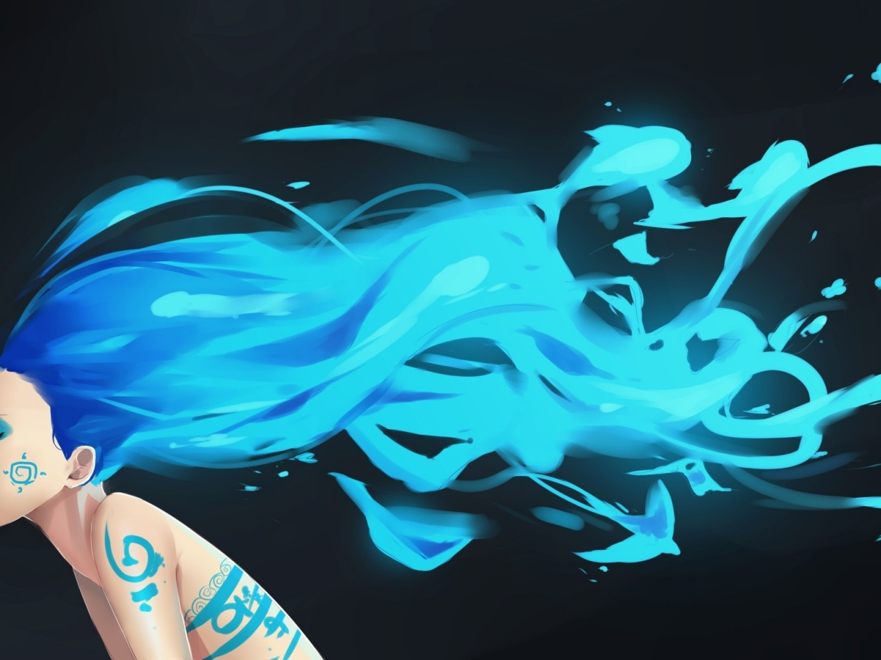 1280x720 Woman Blue Hair Body Painting