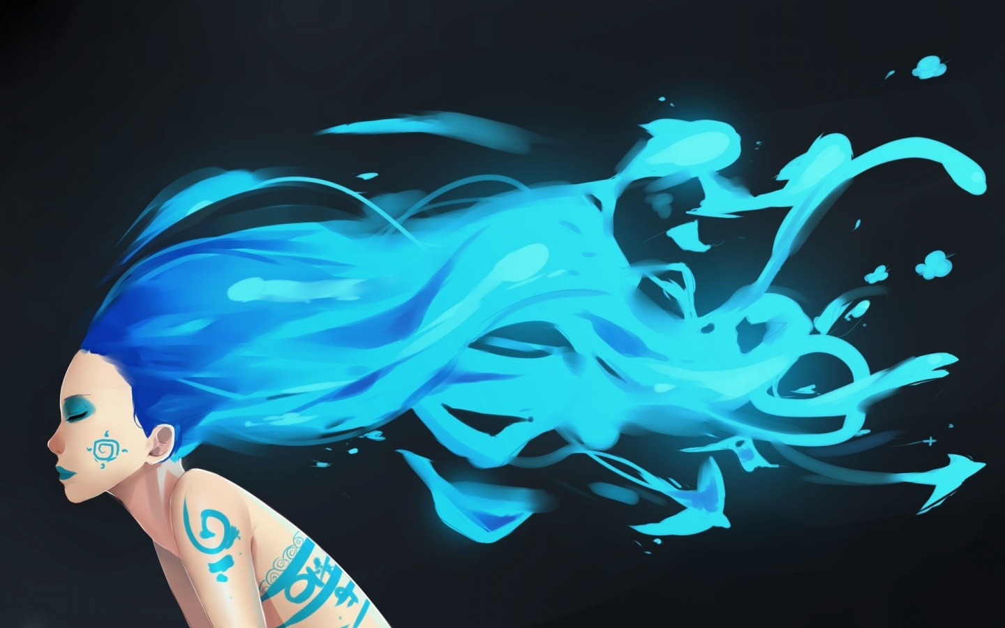 1440x900 Woman Blue Hair Body Painting