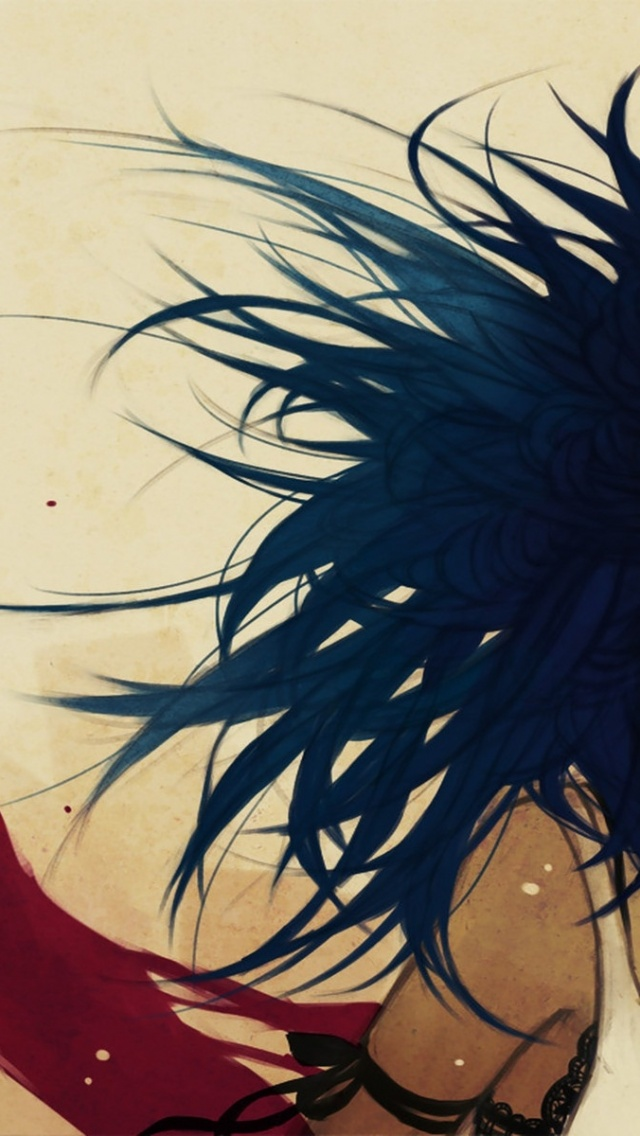 640x1136 Woman Blue Hair Red Scarf Iphone 5 wallpaper
