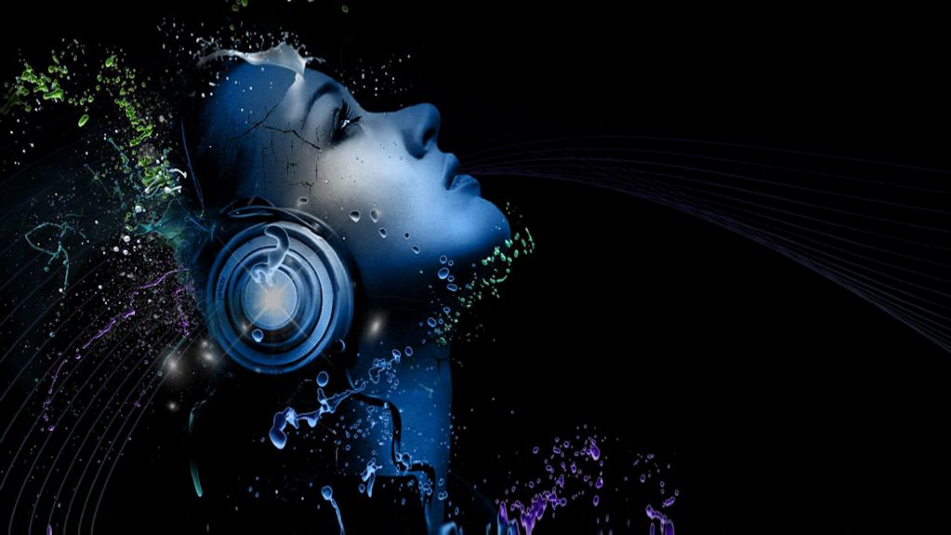 1920x1080 Woman Face Music Abstract Desktop PC And Mac Wallpaper