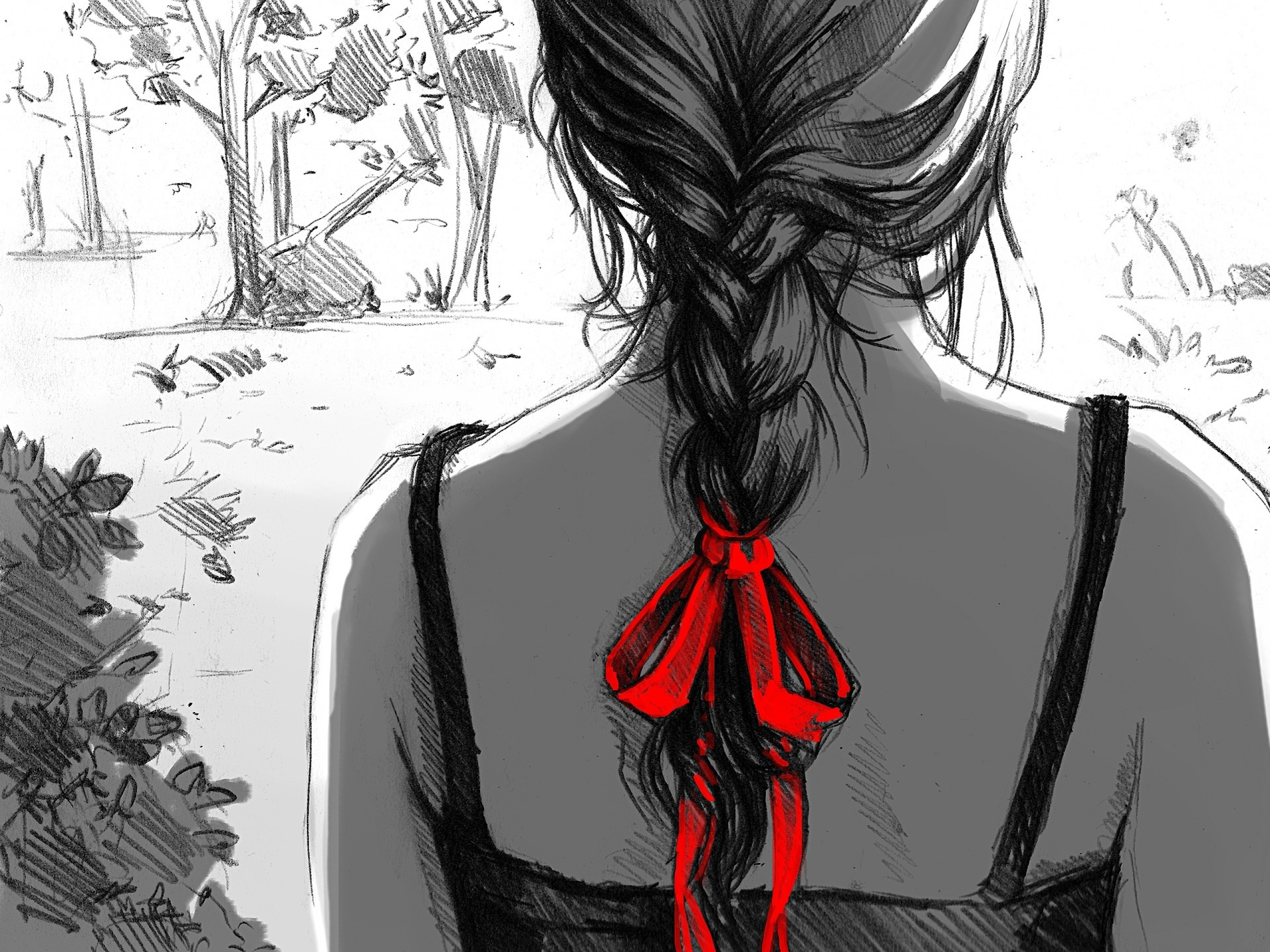 Woman plaits braids drawing wallpapers woman plaits - Sketch anime wallpaper ...