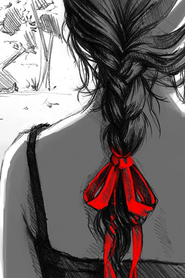Iphone wallpaper drawing - 640x960 Woman Plaits Braids Drawing Iphone 4 Wallpaper