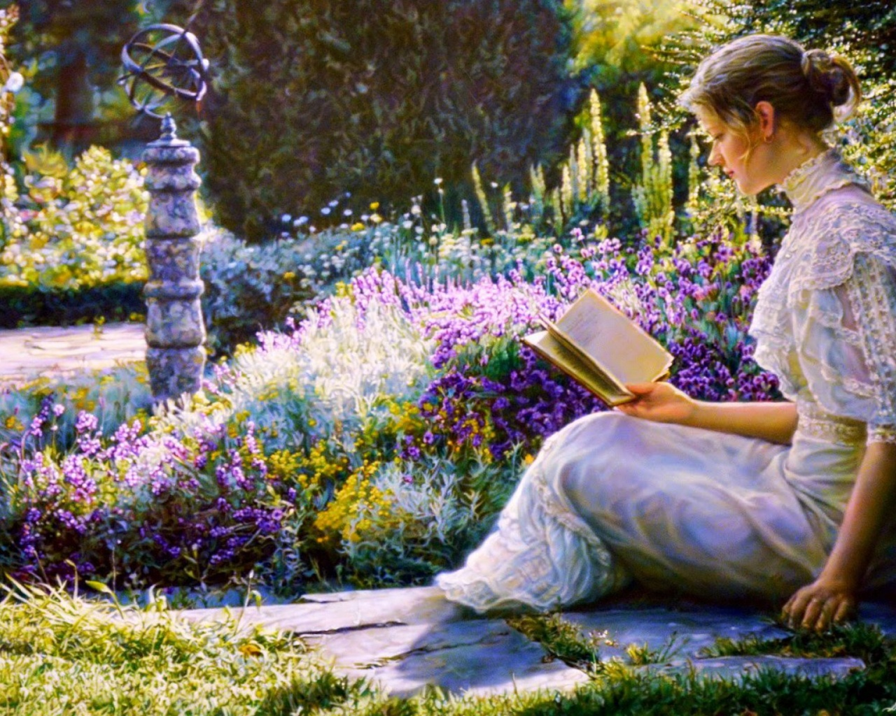 1280x1024 woman reading book garden desktop pc and mac for Wallpaper home and garden