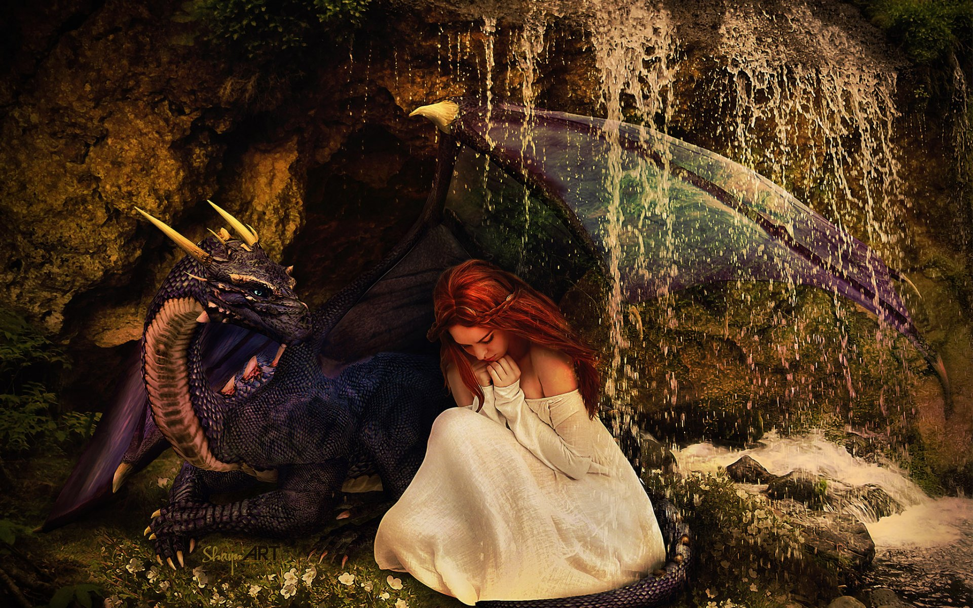 woman red hair dragon friends wallpapers