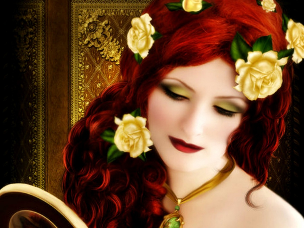 1152x864 Woman Red Hair With Roses