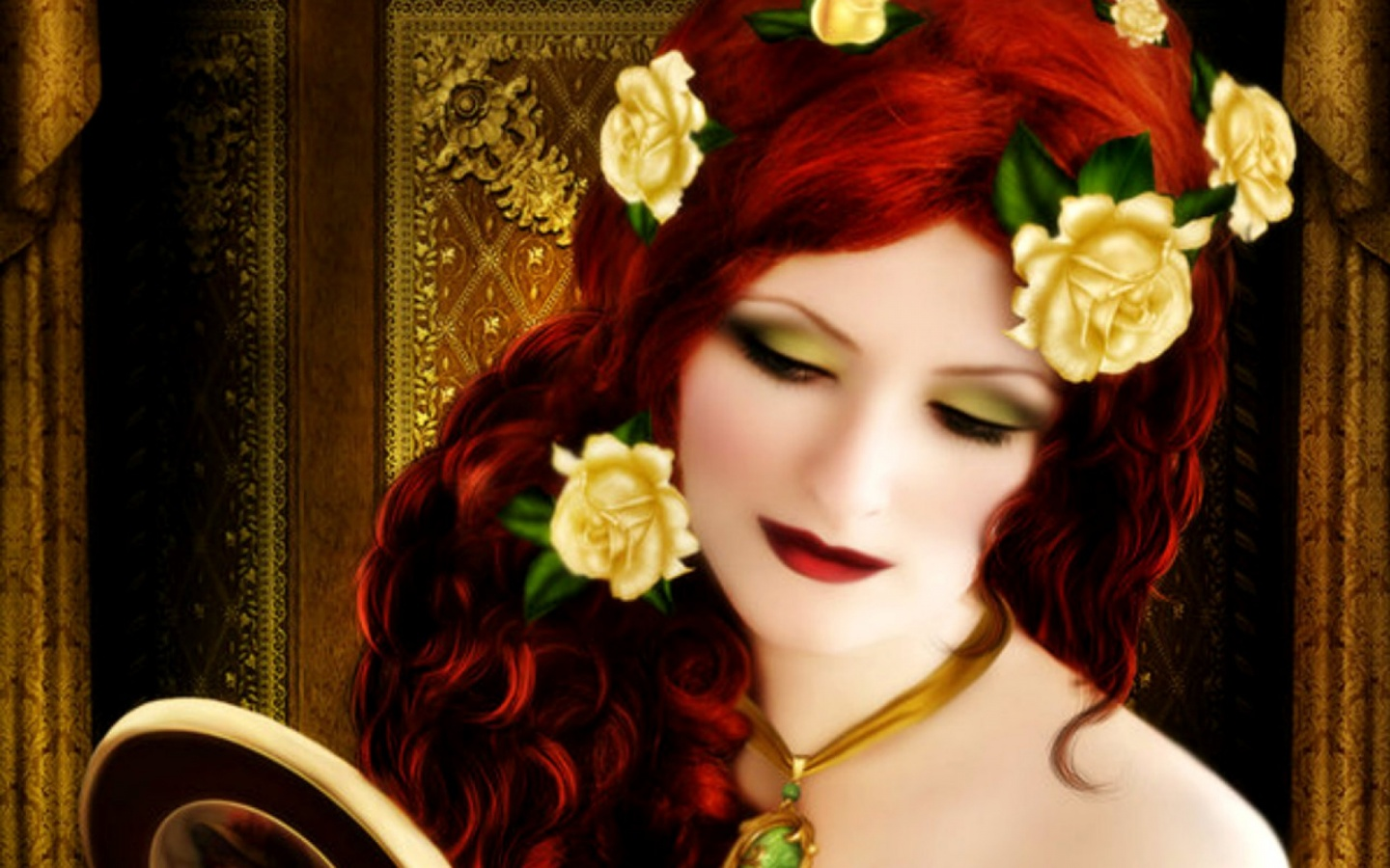 1440x900 Woman Red Hair With Roses