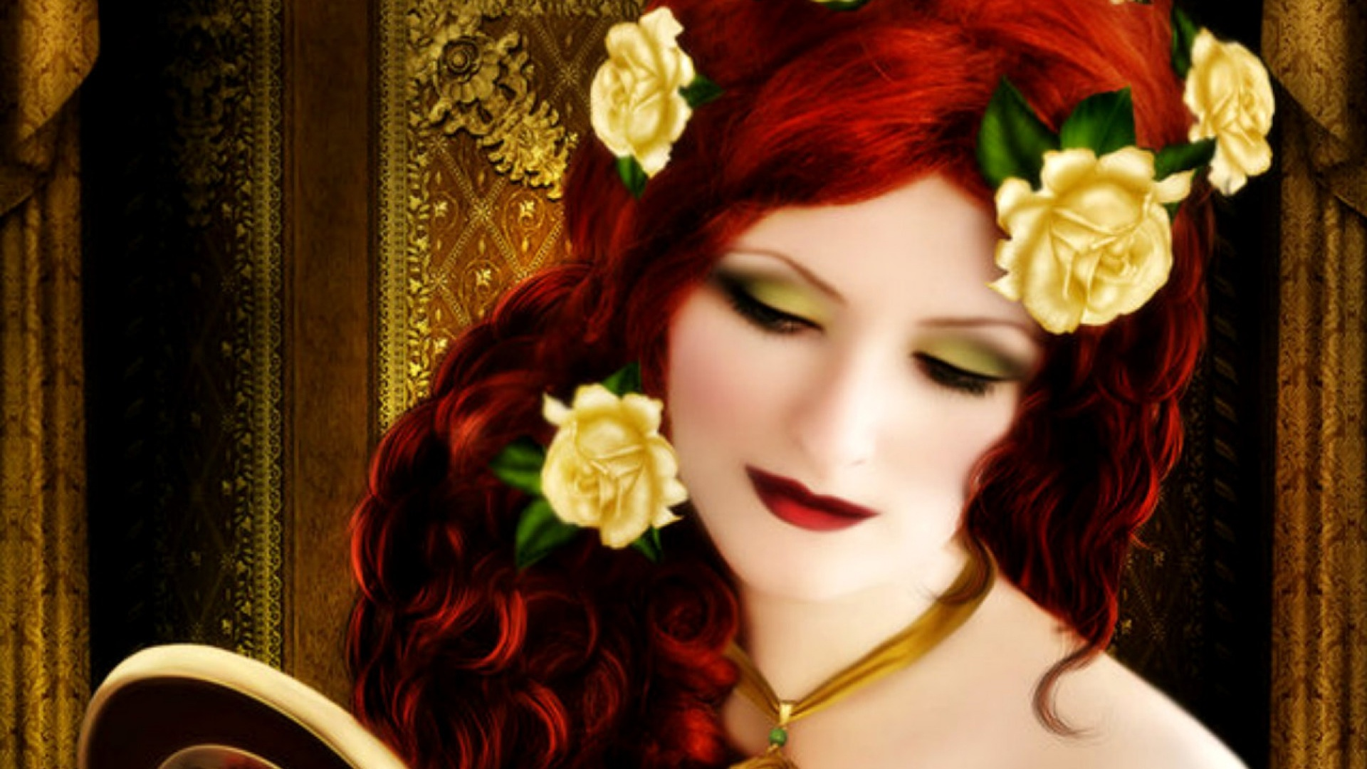 1920x1080 Woman Red Hair With Roses