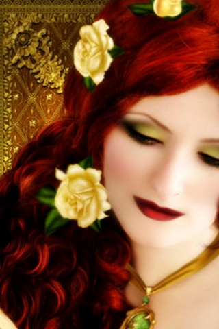 320x480 Woman Red Hair With Roses