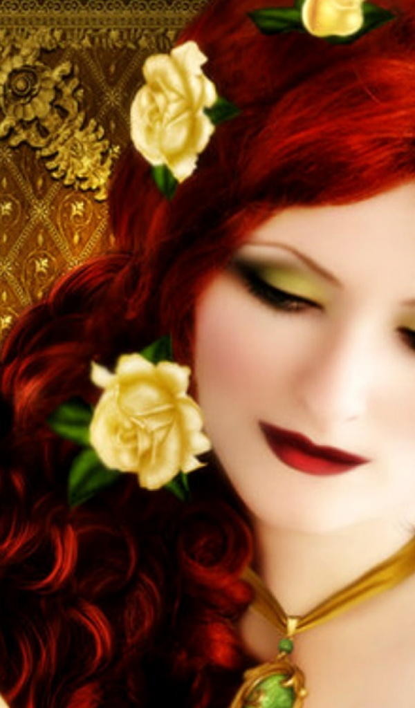 600x1024 Woman Red Hair With Roses