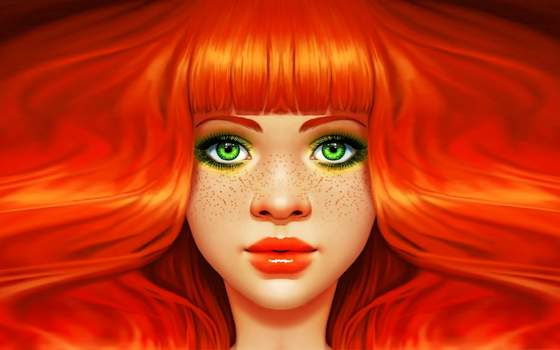 Woman Red Head Green Eyes Wallpapers Woman Red Head