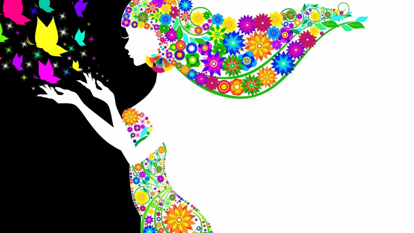 825x315 Woman Silhouette Flowers Facebook Cover Photo