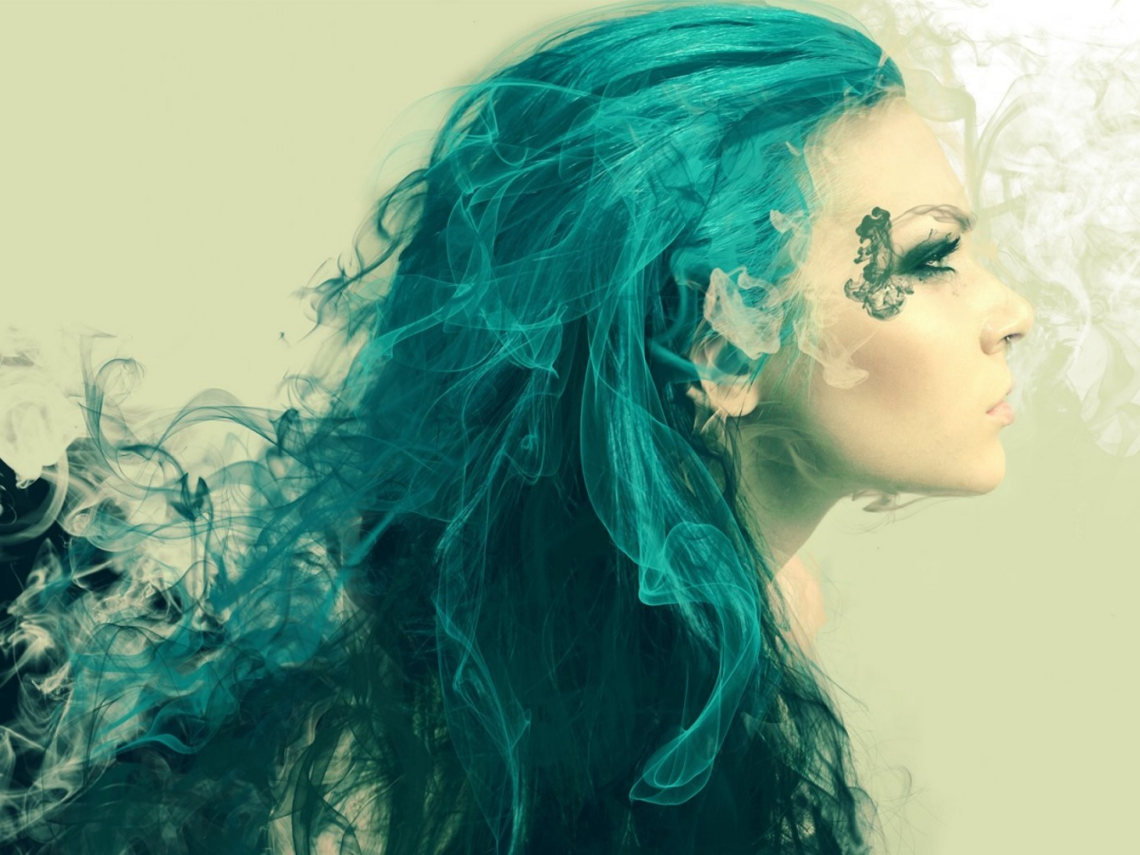 1280x720 Woman Turquoise Hair Looking