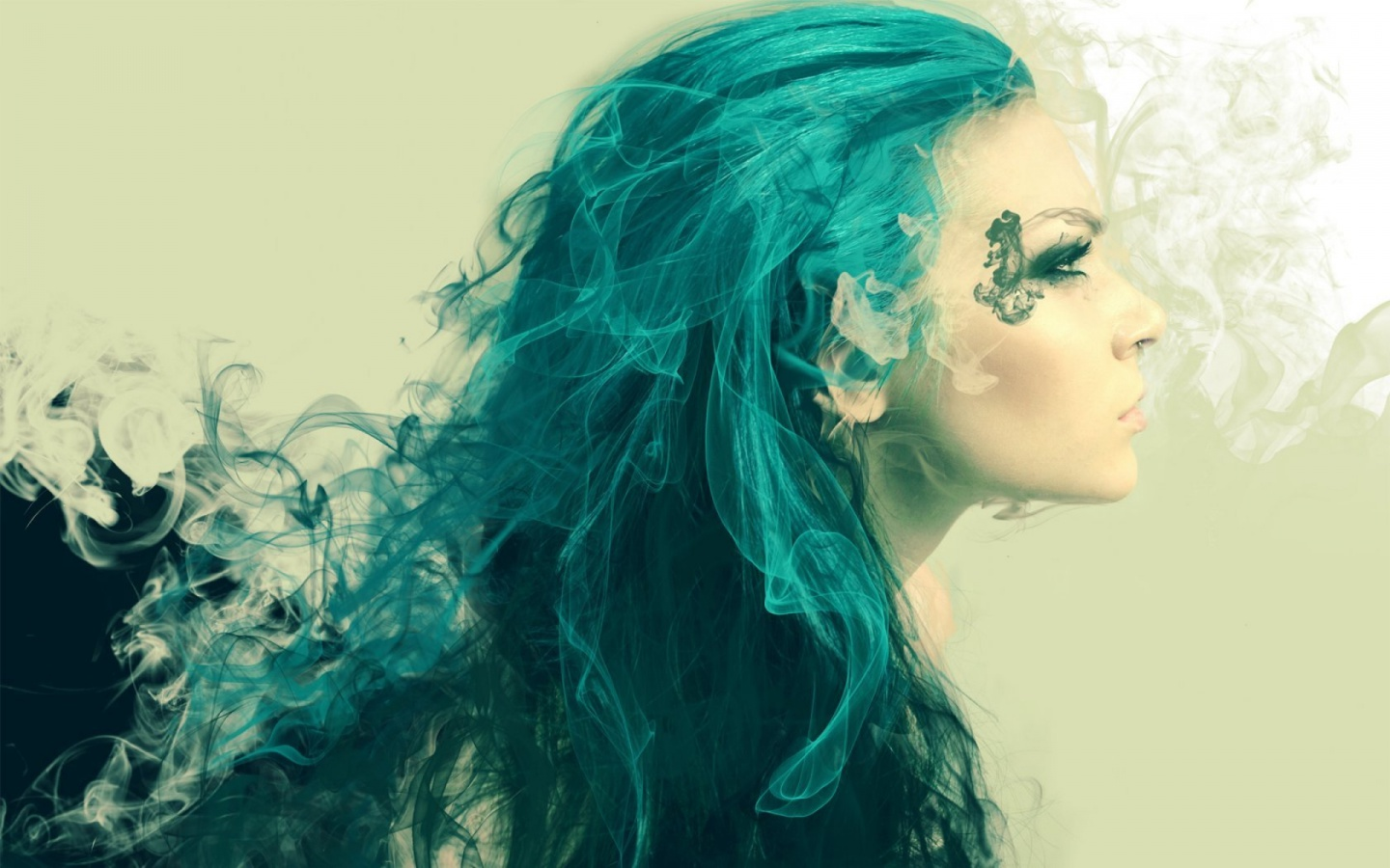 1440x900 Woman Turquoise Hair Looking