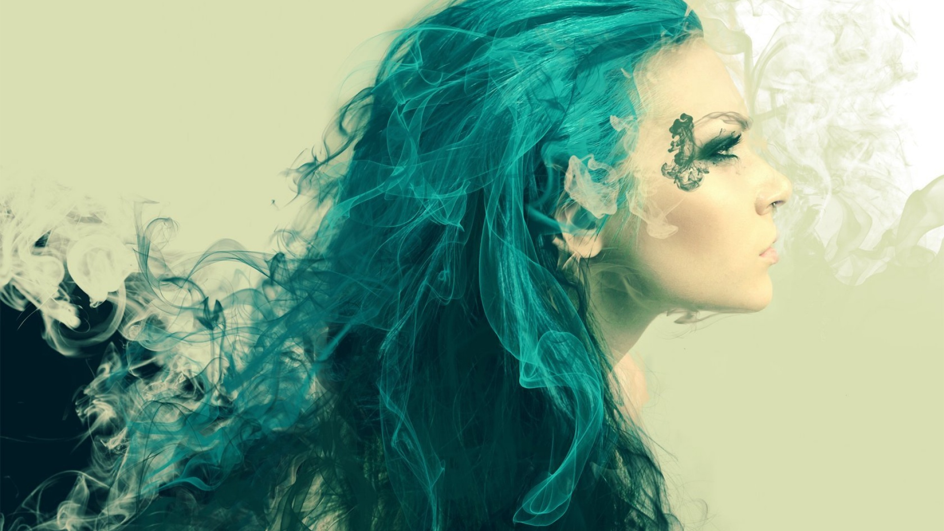 1920x1080 Woman Turquoise Hair Looking