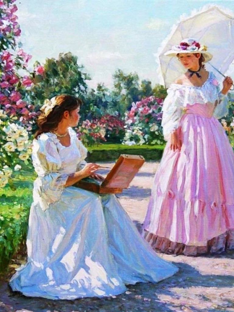 768x1024 Women & Beautiful Rose Garden