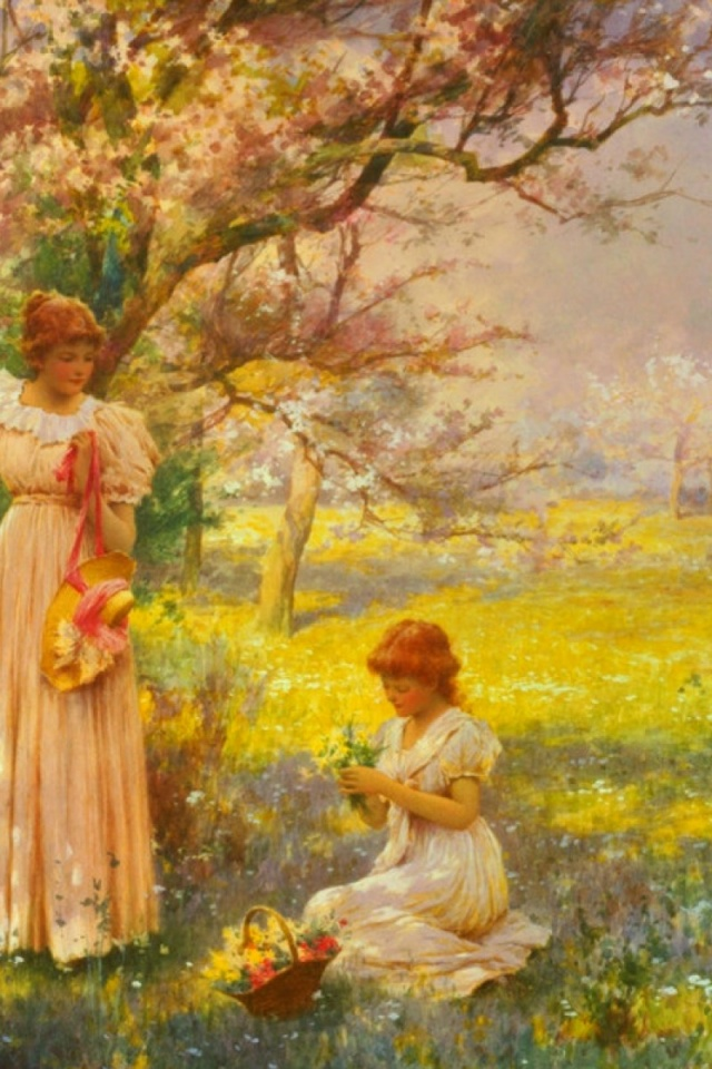 640x960 Women Meadow Spring Time
