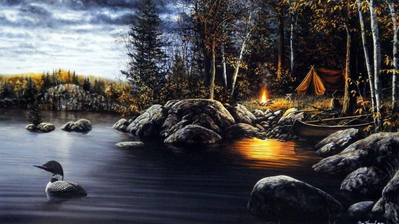 1366x768 wood camping lake duck rocks desktop pc and mac