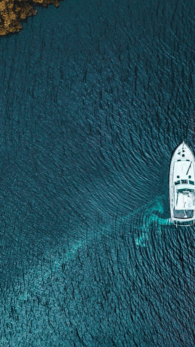 640x1136 Yacht Sea Trees Shore View Iphone 5 Wallpaper