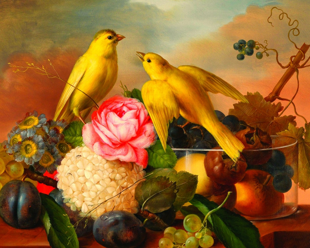 Flowers and fruits wallpapers - 1280x1024 Yellow Birds Flowers Fruits