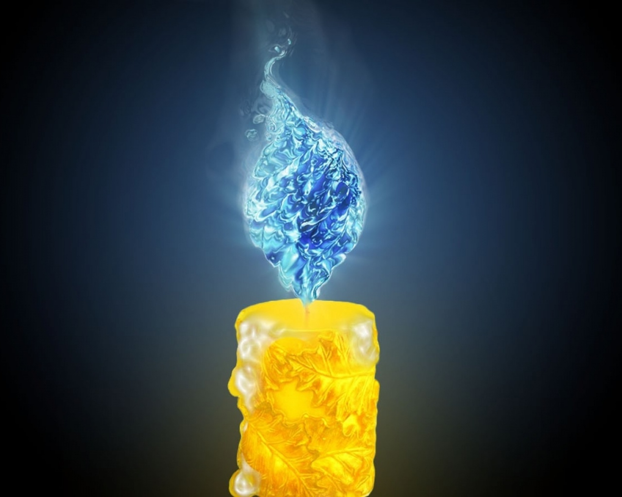 1280x1024 Yellow Candle Blue Flame Desktop PC And Mac Wallpaper