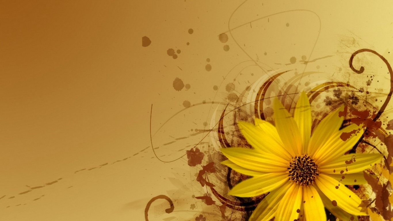 1366x768 Yellow Flower Abstract Desktop Pc And Mac Wallpaper